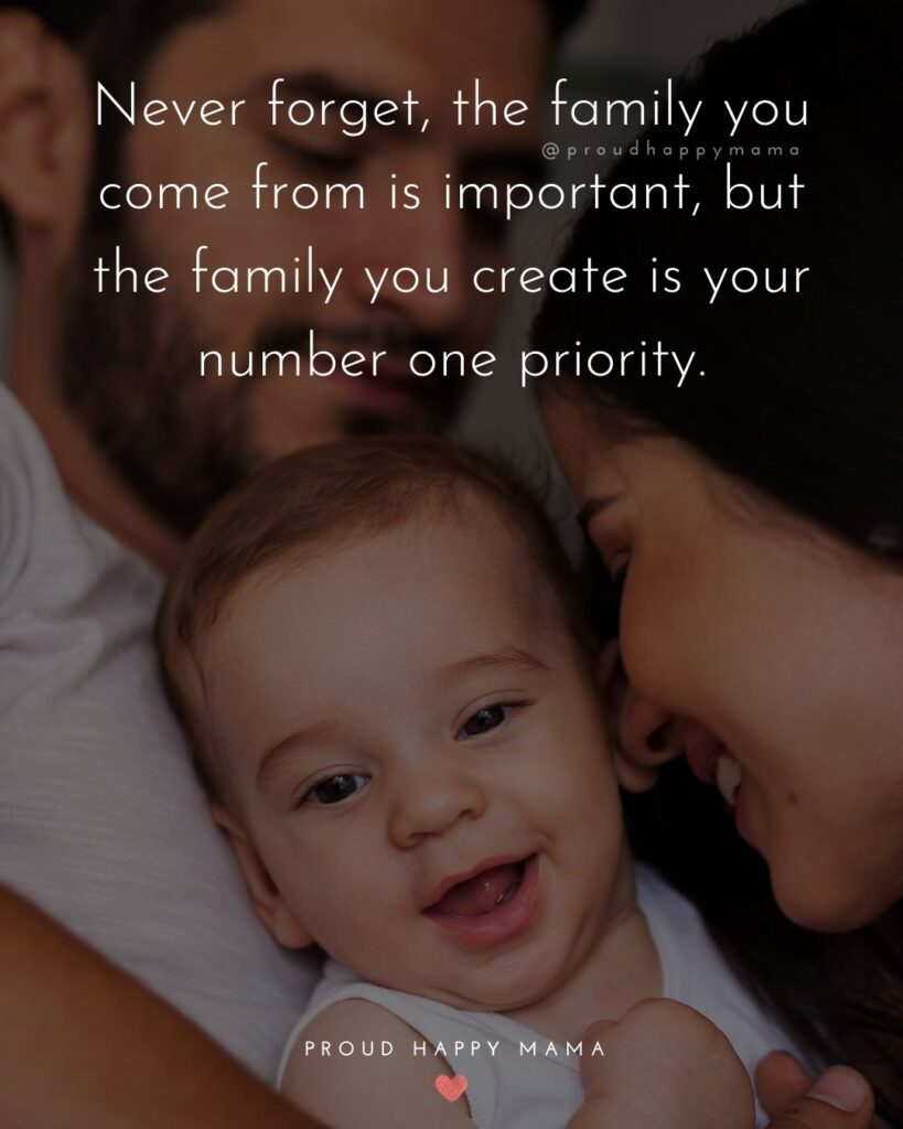 Quotes For New Parents - Never forget, the family you come from is important, but the family you create is your number one