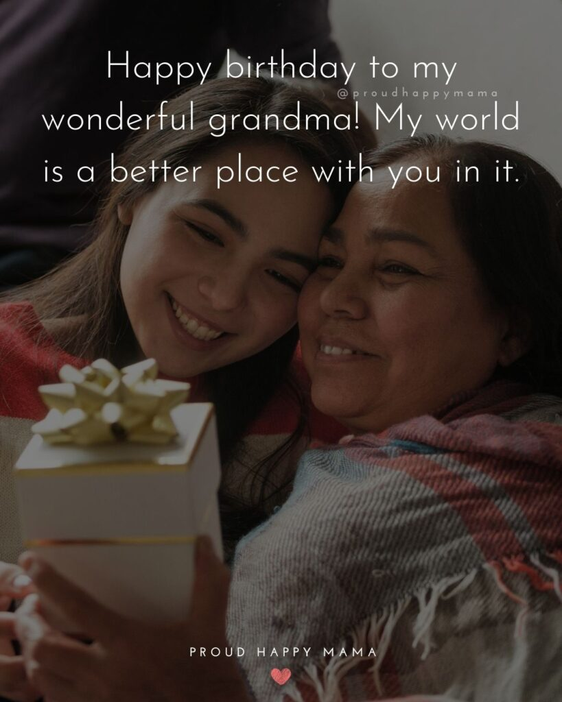 Happy Birthday Grandma Quotes - Happy birthday to my wonderful grandma! My world is a better place with you in it.'