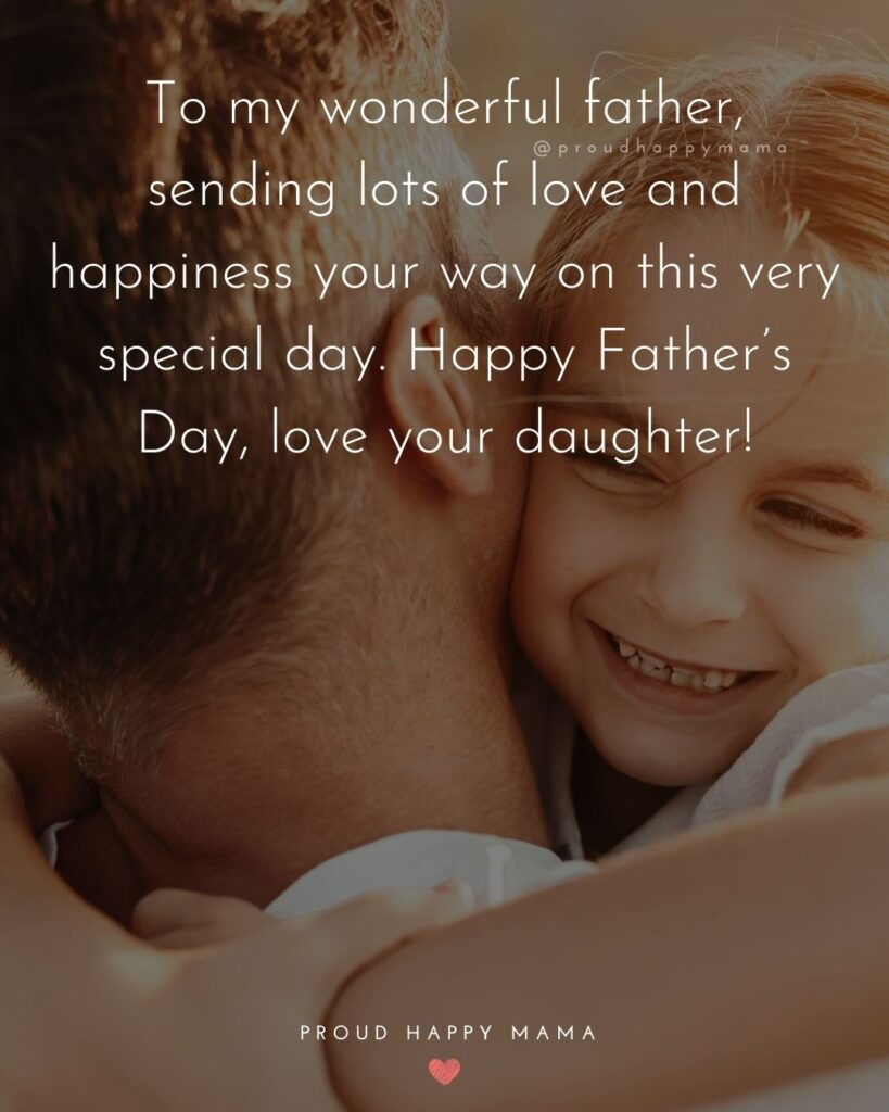 Happy Fathers Day Quotes From Daughter - To my wonderful father, sending lots of love and happiness your way on this