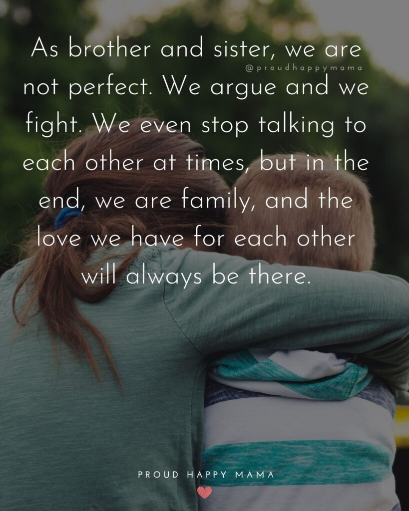 Brother And Sister Quotes - As brother and sister, we are not perfect. We argue and we fight. We even stop talking to each