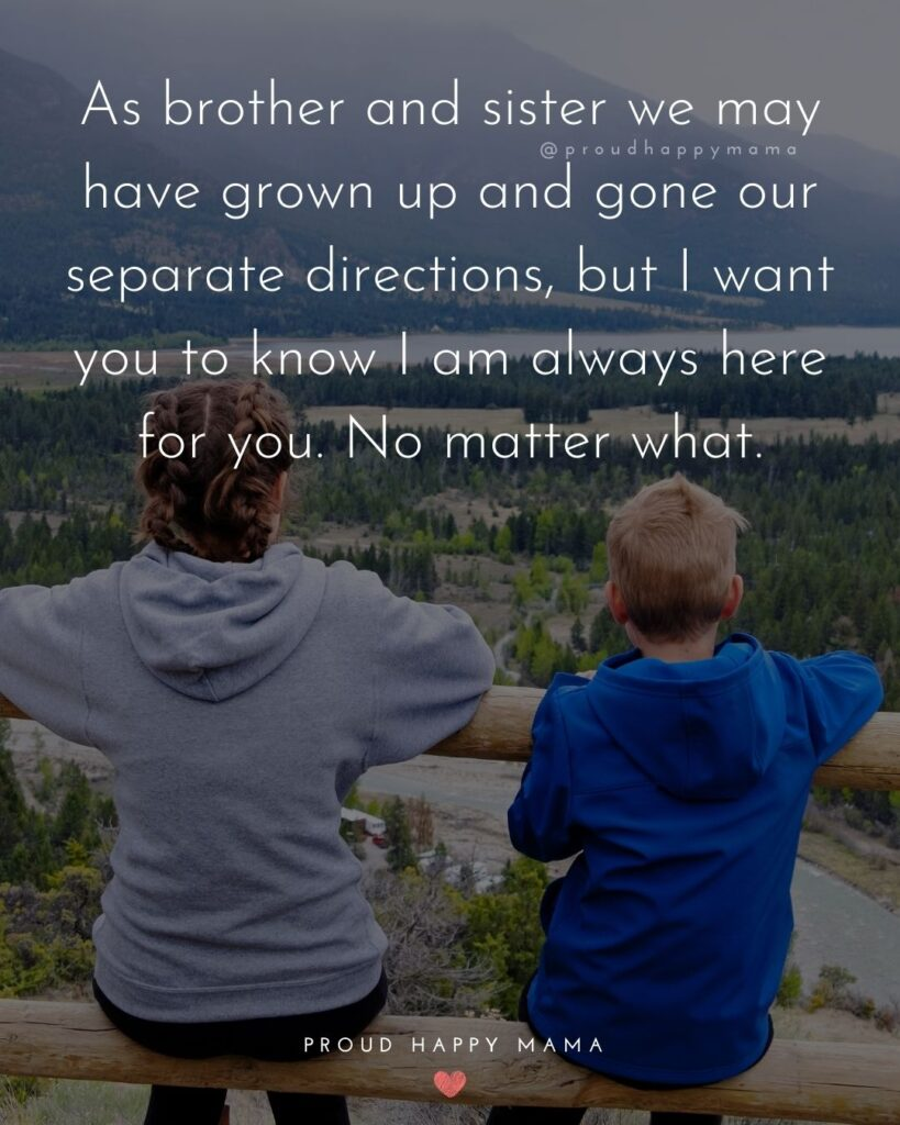 Brother And Sister Quotes - As brother and sister we may have grown up and gone our separate directions, but I want you to