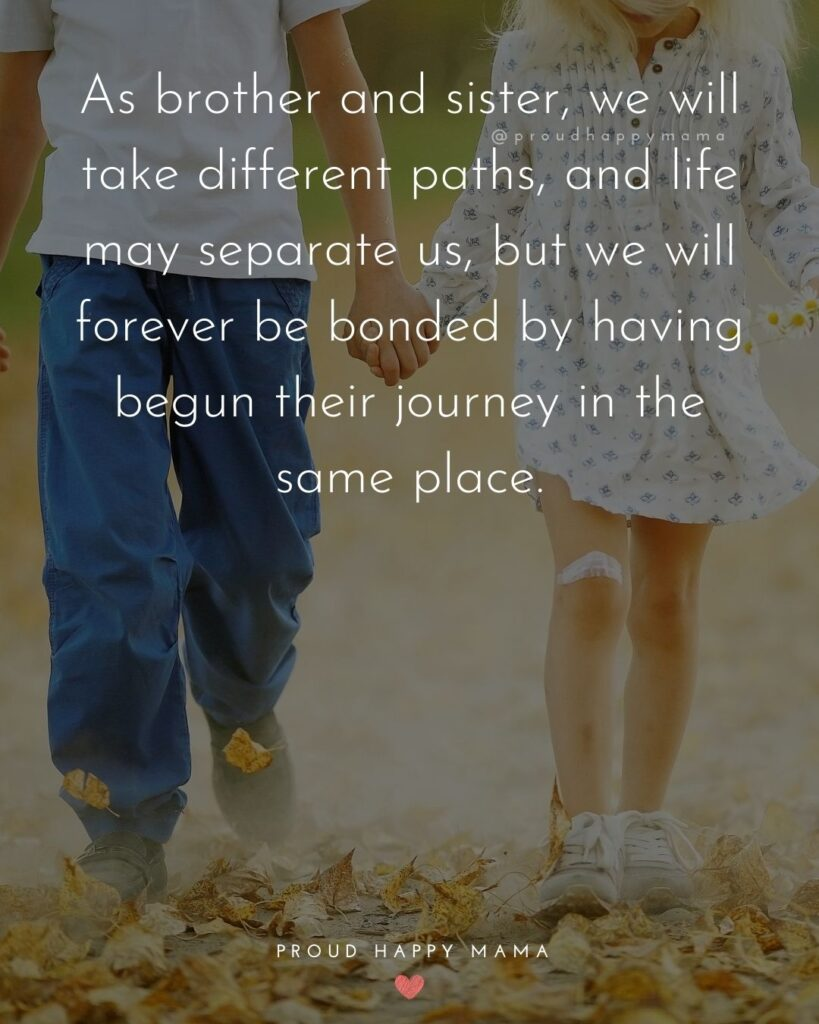 Brother And Sister Quotes - As brother and sister, we will take different paths, and life may separate us, but we will forever be