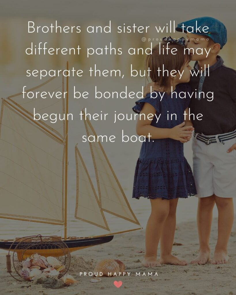 Brother And Sister Quotes - Brothers and sister will take different paths and life may separate them, but they will forever be