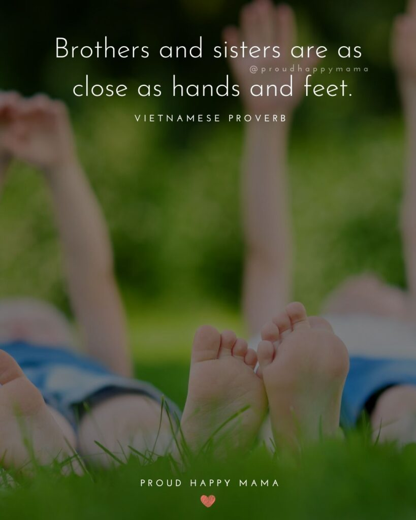 Brother And Sister Quotes - Brothers and sisters are as close as hands and feet.' – Vietnamese Proverb