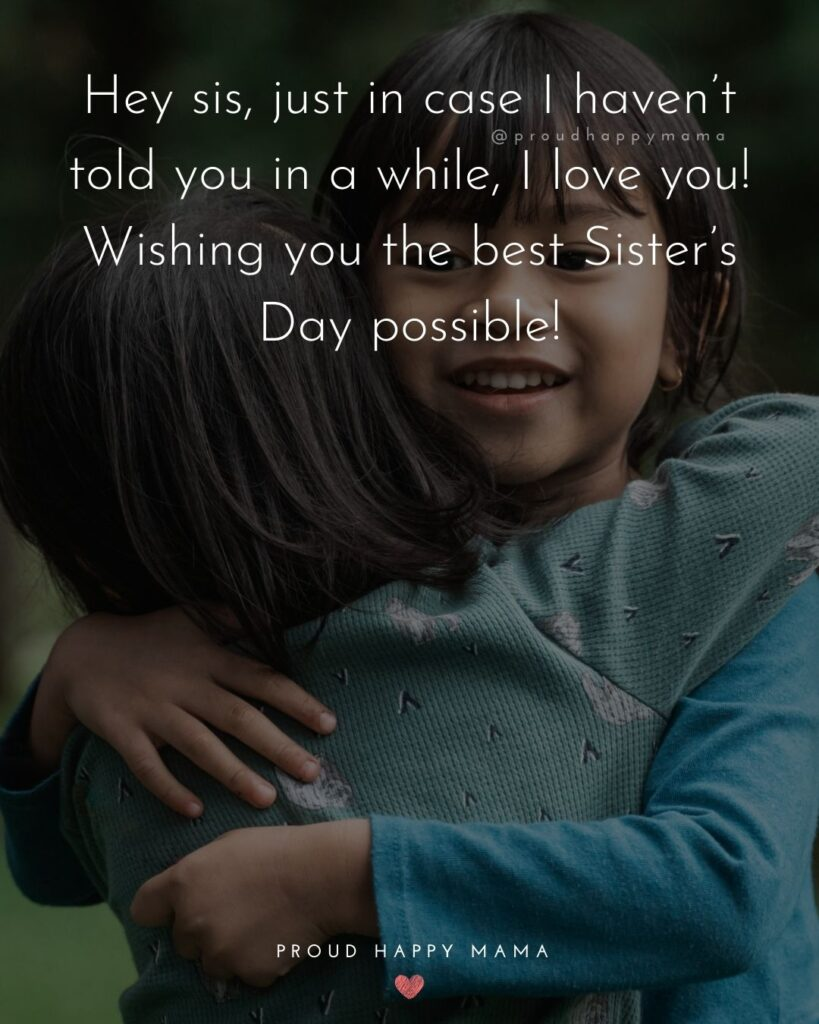 Happy Sisters Day Quotes - Hey sis, just in case I haven't told you in a while, I love you! Wishing you the best Sister's Day possible!'