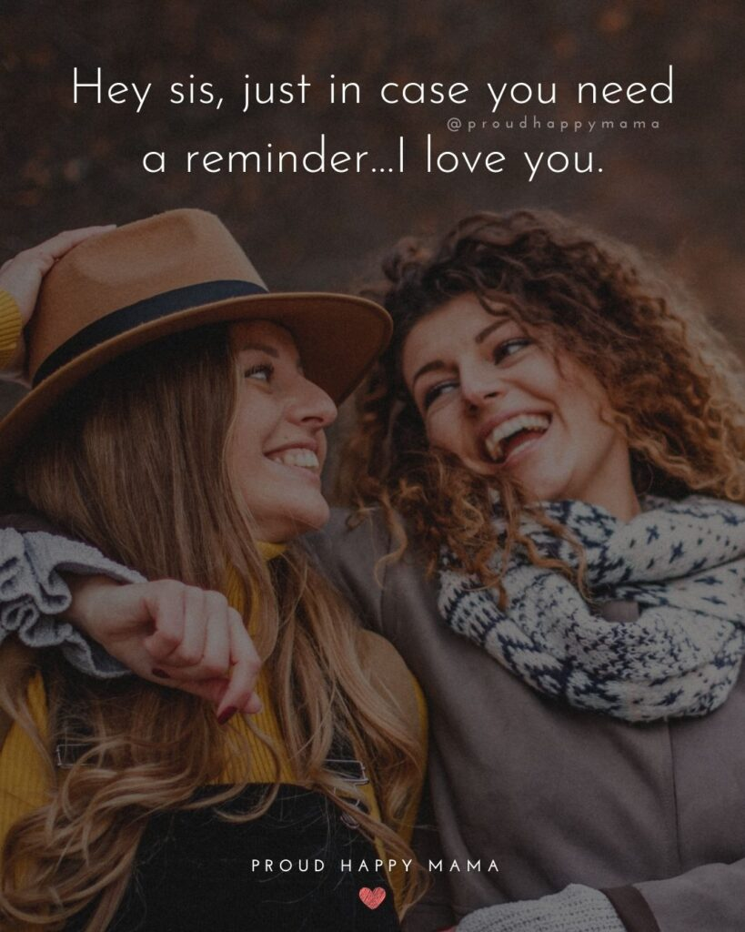 I Love My Sister Quotes- Hey sis, just in case you need a reminder…I love you.'