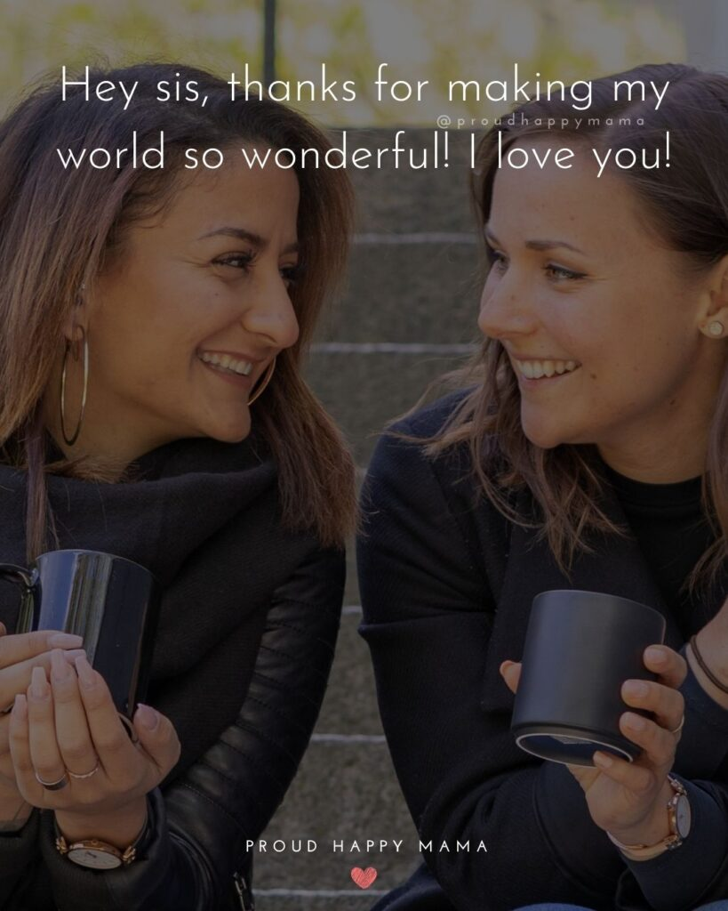I Love My Sister Quotes- Hey sis, thanks for making my world so wonderful! I love you!'