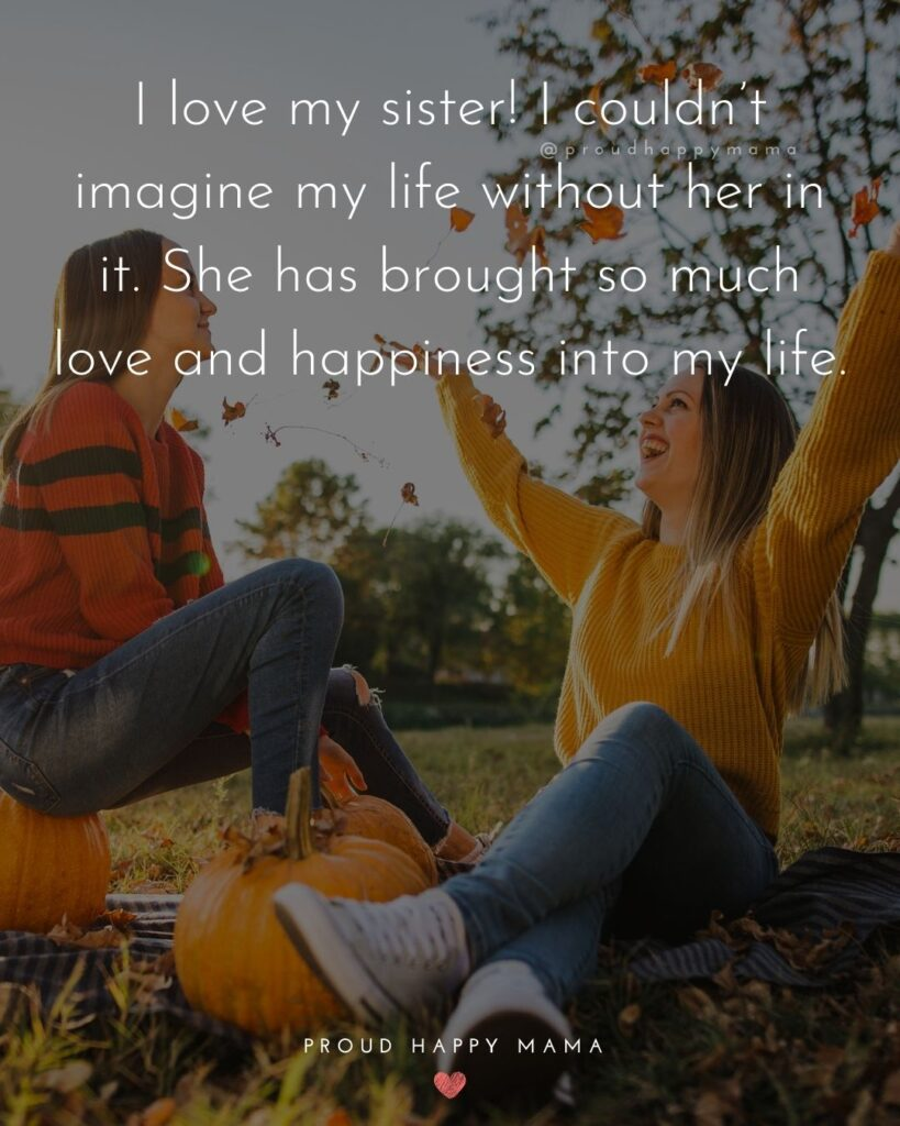 I Love My Sister Quotes- I love my sister! I couldn't imagine my life without her in it. She has brought so much love and