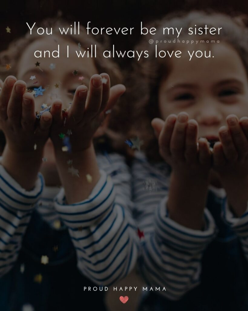 I Love My Sister Quotes- You will forever be my sister and I will always love you.'