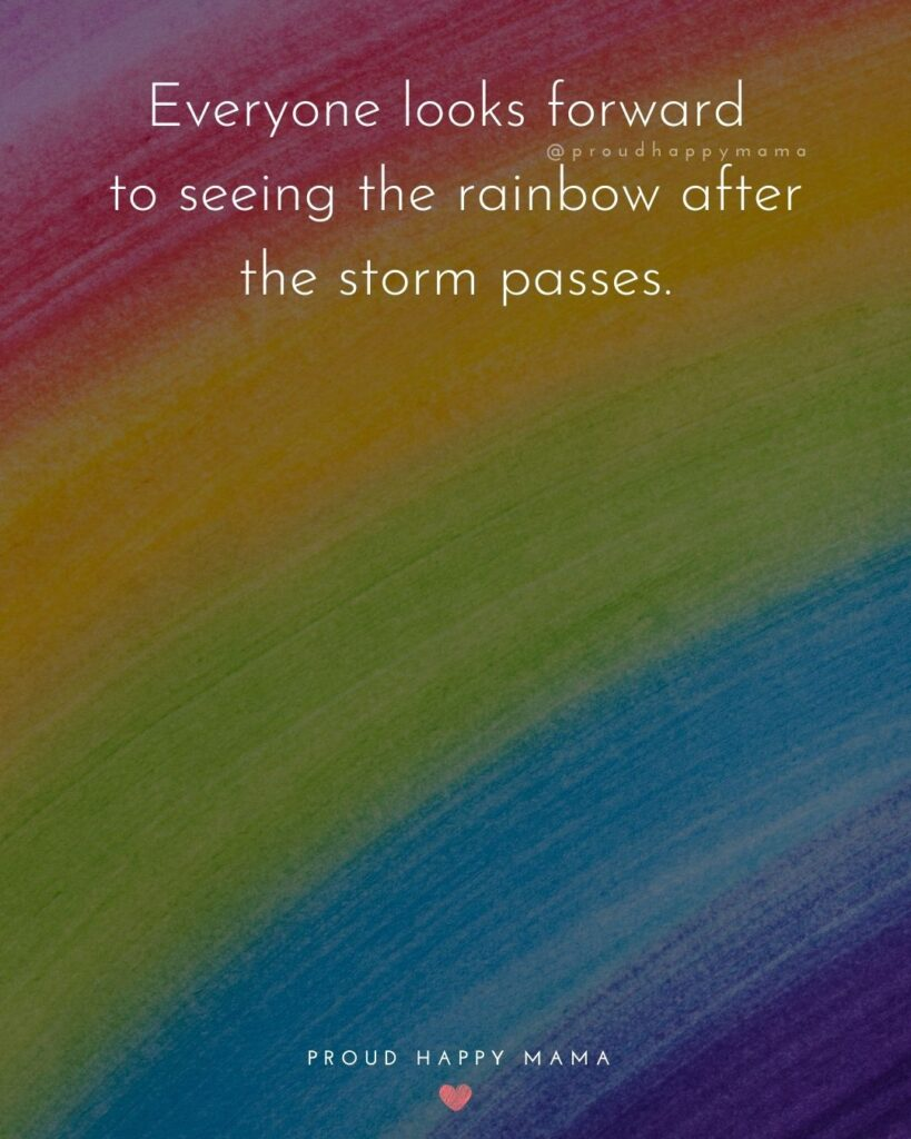Rainbow Baby Quotes - Everyone looks forward to seeing the rainbow after the storm passes.'