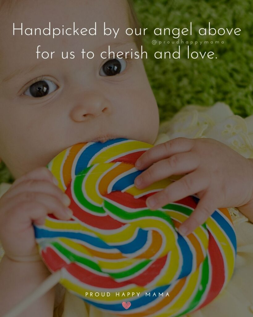 Rainbow Baby Quotes - Handpicked by our angel above for us to cherish and love.'