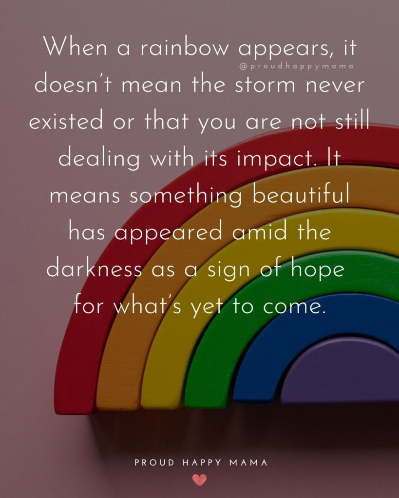 Rainbow Baby Quotes - When a rainbow appears, it doesn't mean the storm never existed or that you are not still dealing
