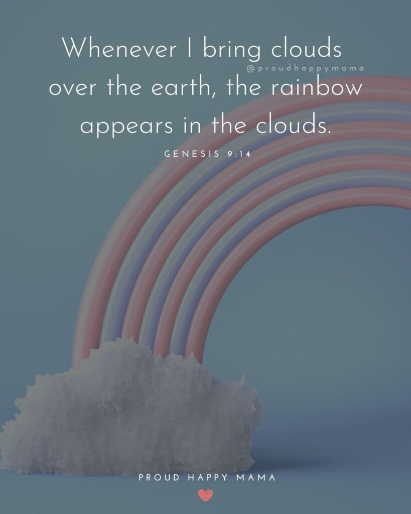 Rainbow Baby Quotes - Whenever I bring clouds over the earth, the rainbow appears in the clouds.' Genesis 9:14