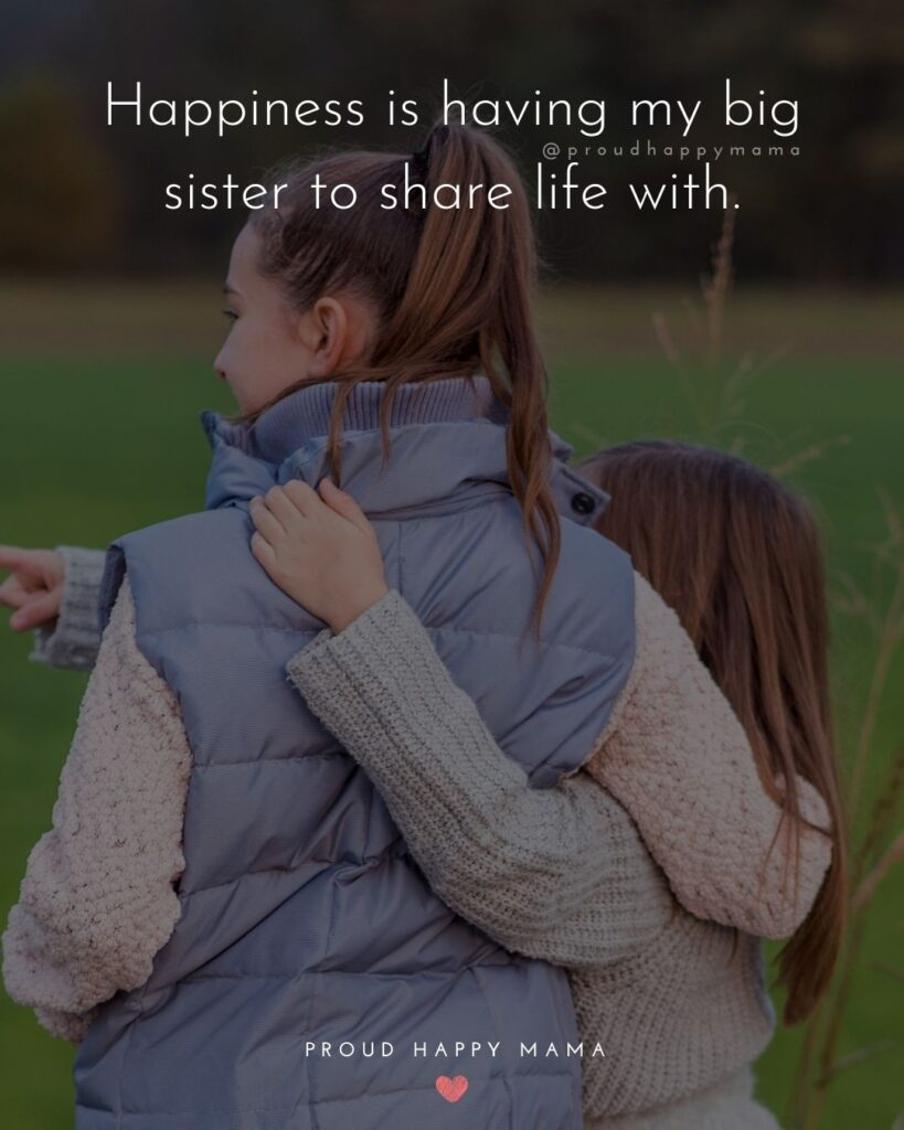 Big Sister Quotes - Happiness is having my big sister to share life with.'