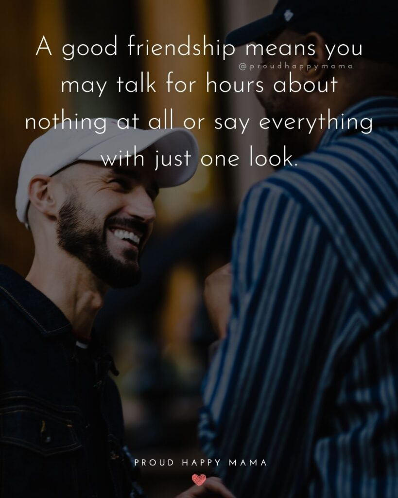 Friendship Quotes - A good friendship means you may talk for hours about nothing at all or say everything with just one look.'