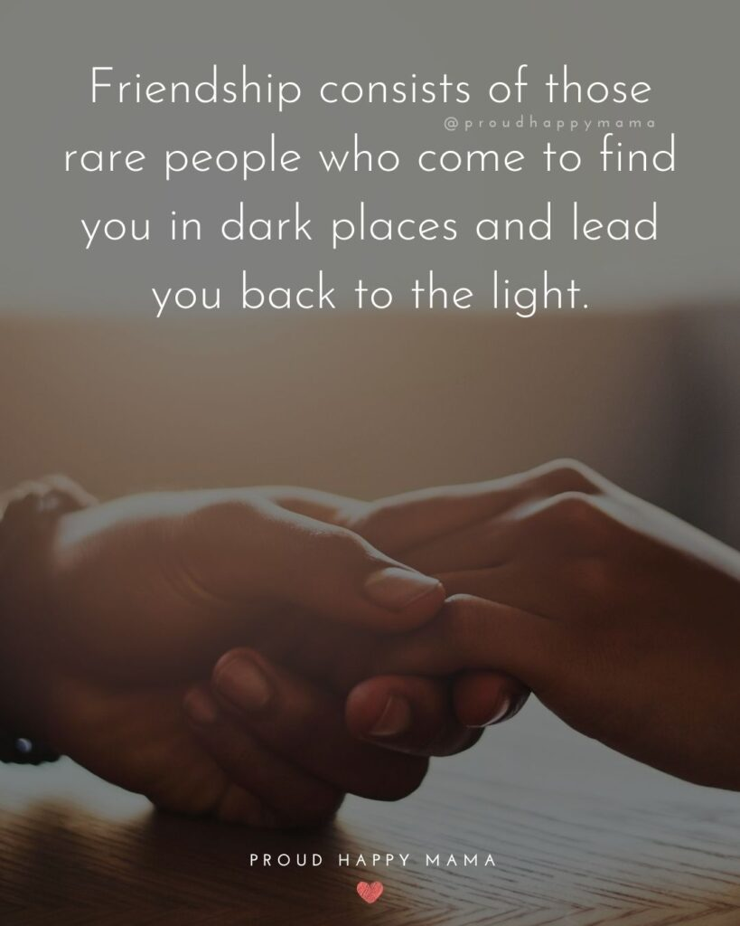 Friendship Quotes - Friendship consists of those rare people who come to find you in dark places and lead you back to the light.'