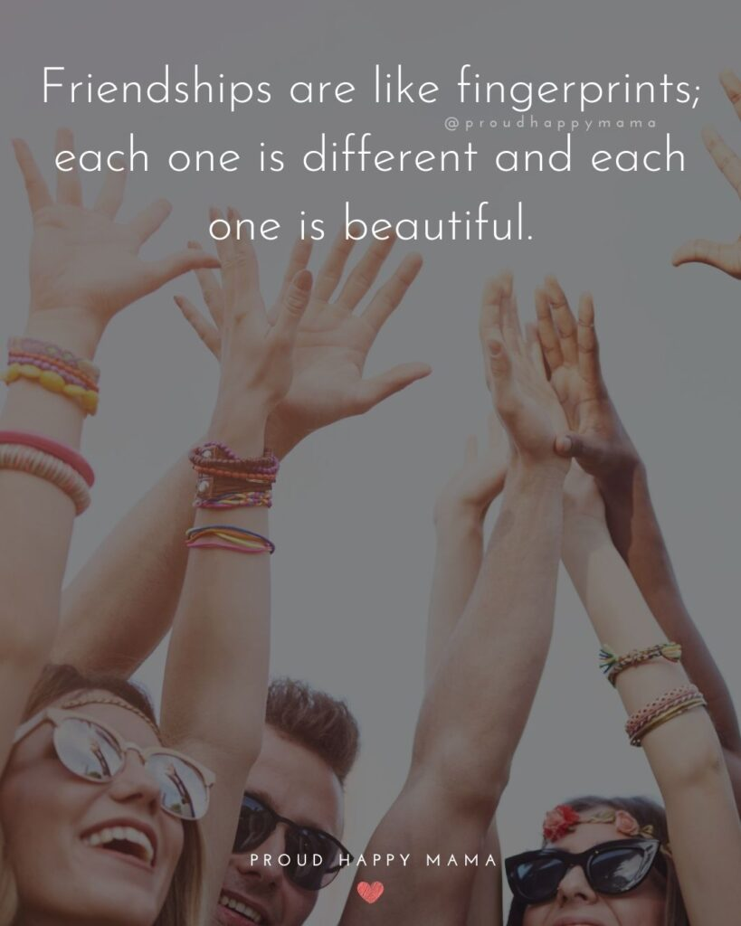 Friendship Quotes - Friendships are like fingerprints; each one is different and each one is beautiful.'