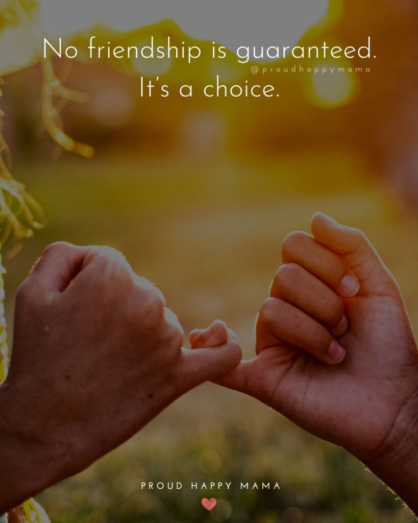 Friendship Quotes - No friendship is guaranteed. It's a choice.'