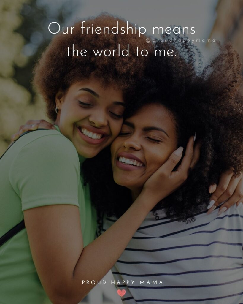 Friendship Quotes - Our friendship means the world to me.'