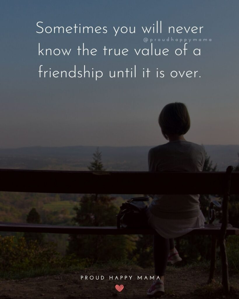 Friendship Quotes - Sometimes you will never know the true value of a friendship until it is over.'
