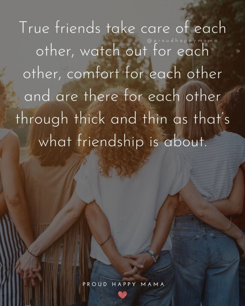 Friendship Quotes - True friends take care of each other, watch out for each other, comfort for each other and are there for each