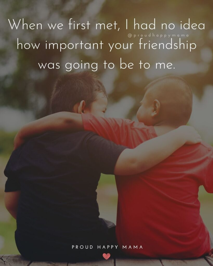 Friendship Quotes - When we first met, I had no idea how important your friendship was going to be to me.'