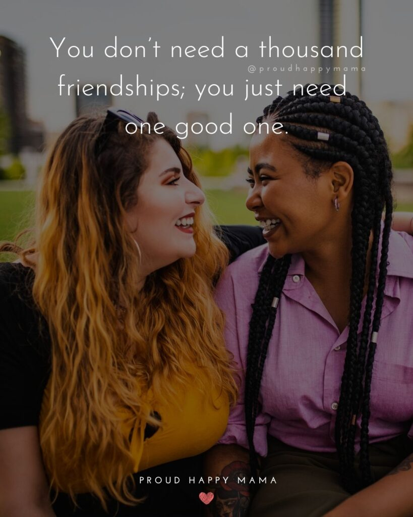 Friendship Quotes - You don't need a thousand friendships; you just need one good one.'