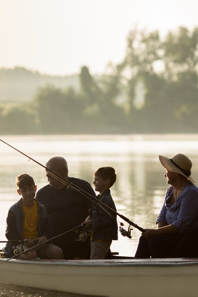 Grandparents and grandchildren Fishing - Family Traditions