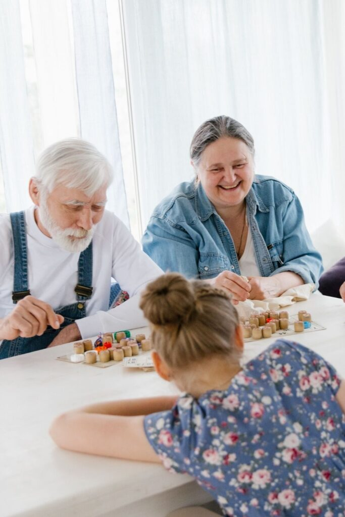 Grandparents playing games