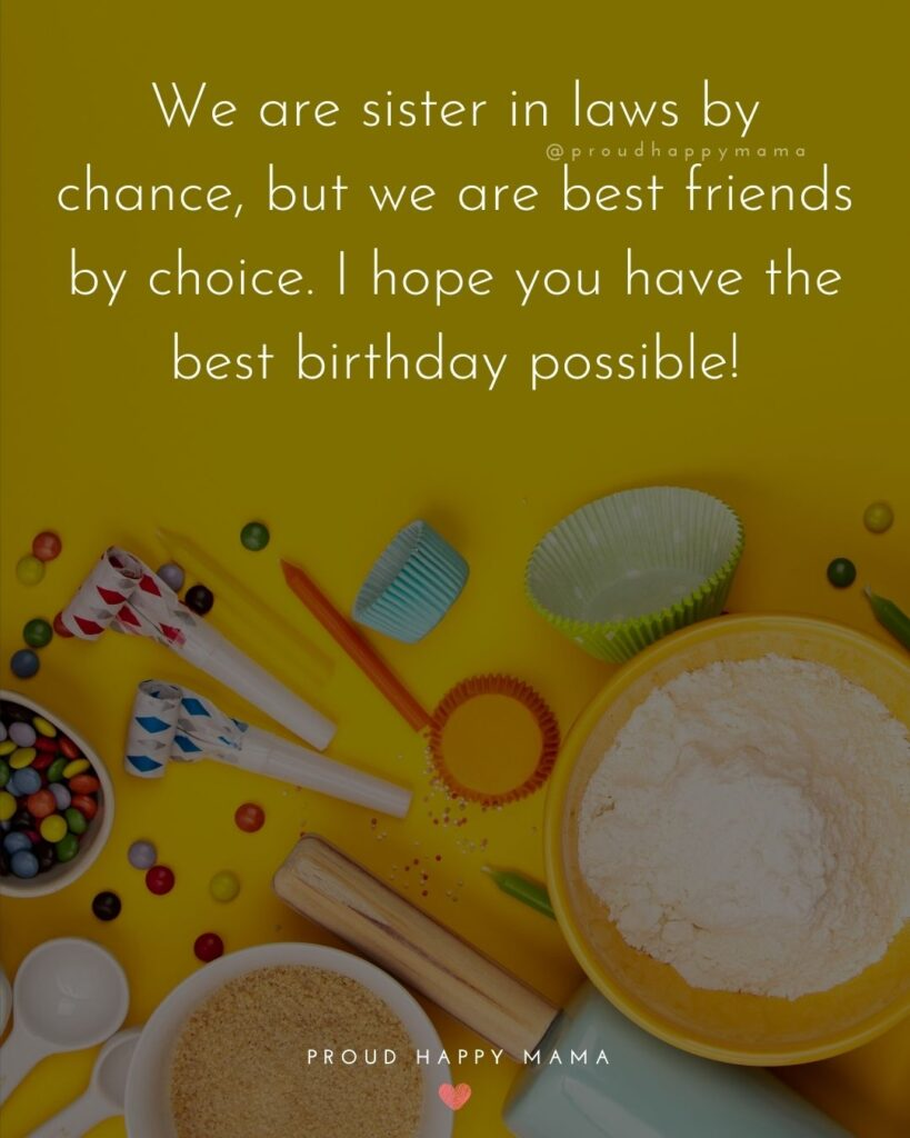 Happy Birthday Sister In Law Quotes - We are sister in laws by chance, but we are best friends by choice. I hope you have the