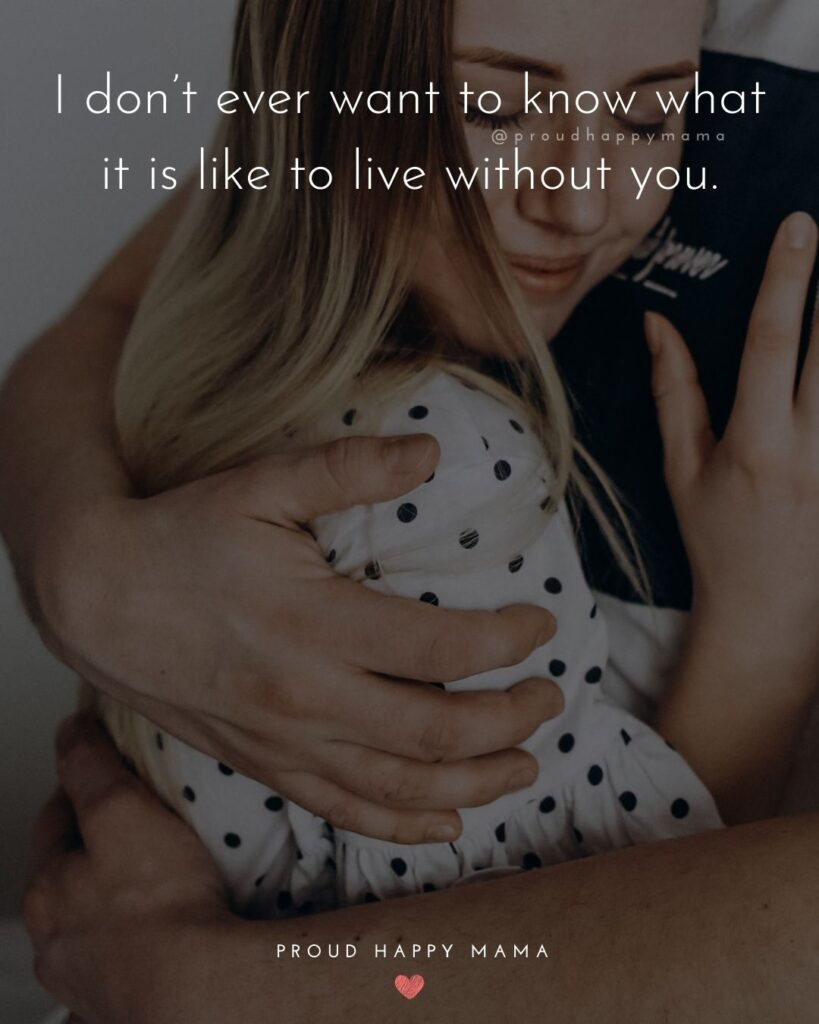 Love Quotes For Her - I don't ever want to know what it is like to live without you.'