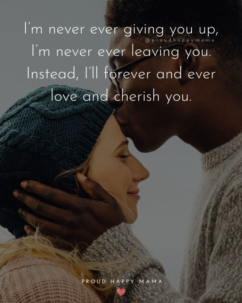Love Quotes For Her - I'm never ever giving you up, I'm never ever leaving you. Instead, I'll forever and ever love and cherish