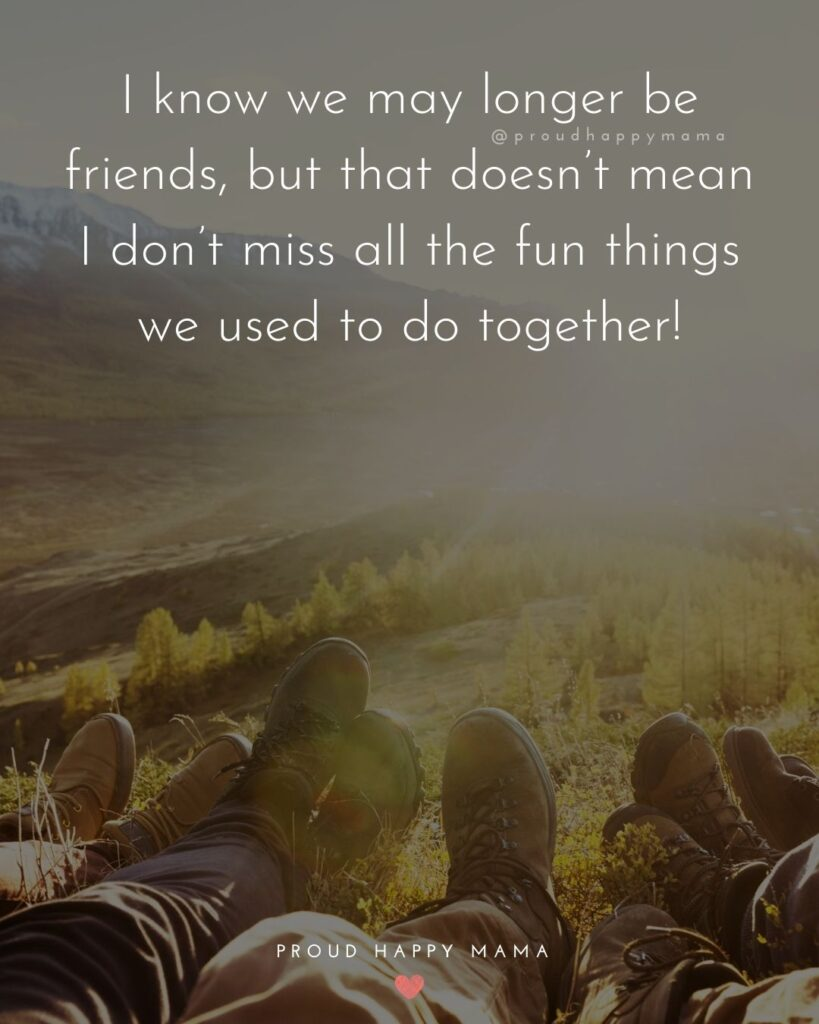 Missing Friends Quotes - I know we may longer be friends, but that doesn't mean I don't miss all the fun things we used to do