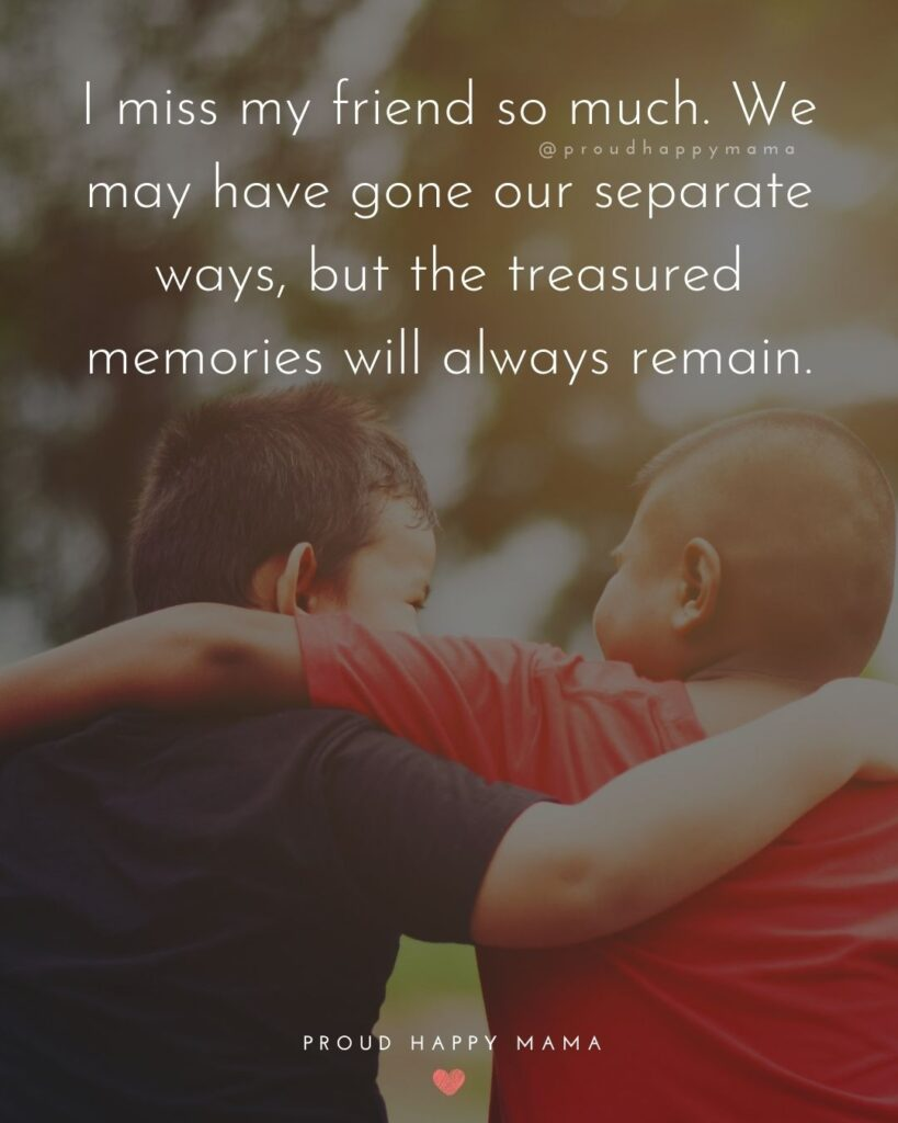 Missing Friends Quotes - I miss my friend so much. We may have gone our separate ways, but the treasured memories will always