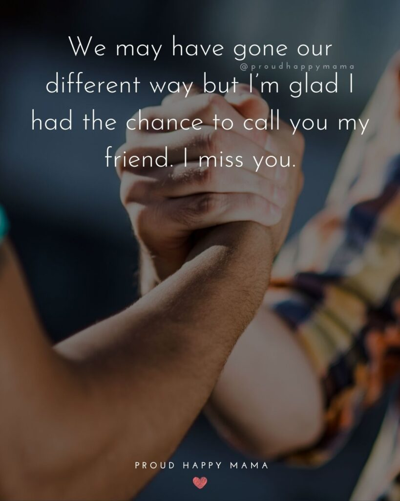 Missing Friends Quotes - We may have gone our different way but I'm glad I had the chance to call you my friend. I miss you.'