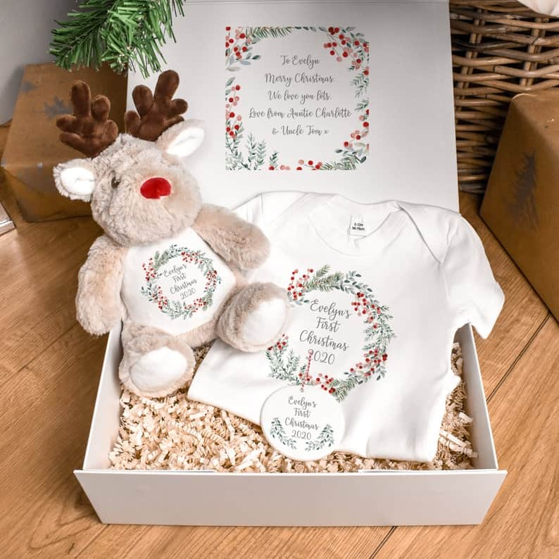 Babys First Christmas Gift Set Personalized