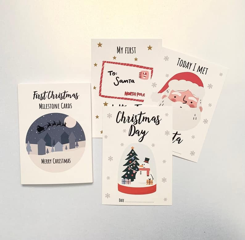 Babys First Christmas Milestones Cards